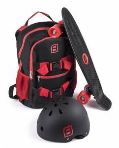 Bilde av Skateboard med ryggsekk og hjelm