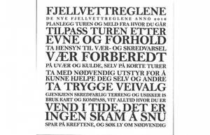 Bilde av Serviett m/tekst. Fjellvettregler