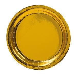Bilde av Papptallerken Metallic gull 18.5cm 8pk