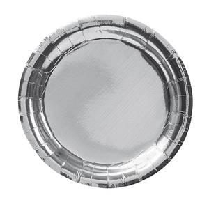 Bilde av Papptallerken Metallic sølv 18.5cm 8pk