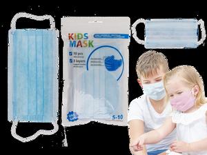 Bilde av Munnbind blå for barn 5-10år. 3 lags, 10 stk i pk