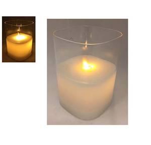 Bilde av Lys i glasskolbe med bevegelig flamme 12,5cm,