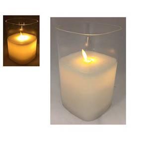 Bilde av Lys i glasskolbe med bevegelig flamme. 15cm,