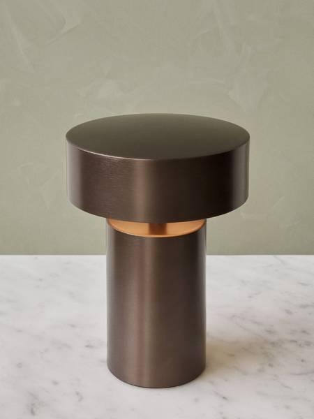 Column portabel bordlampe, bronze