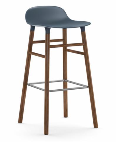 Bilde av Form Barstol Valnøtt Blå
