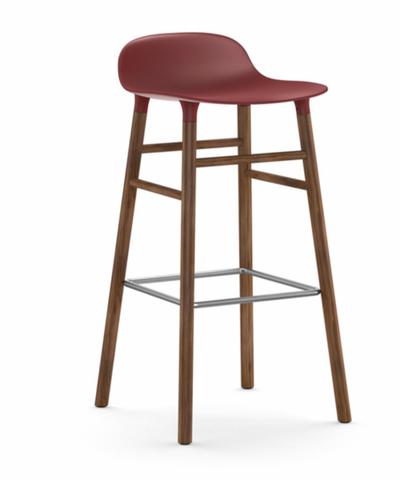 Bilde av Form Barstol Valnøtt Rød