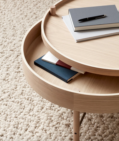 Bilde av Turning Table Oak/cromeMenu