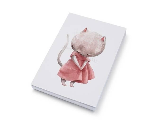 Bilde av Kattejente med rosa kjole | 10x15 cm