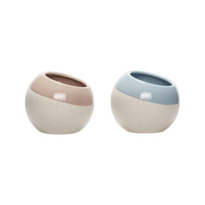 Bilde av Potte, keramik, hvid/lyseblå/rosa, s/2