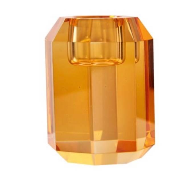 Bilde av Krystal lysestake oransje