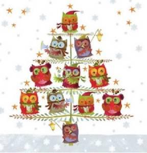 Bilde av Juletre med ugler Servietter