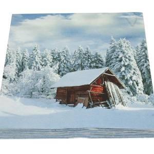 Bilde av  Servietter. Hytte i vinterland