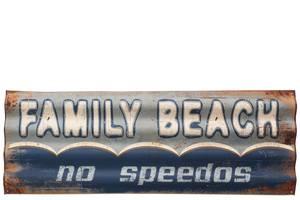 Bilde av Metallskilt. Family Beach. No speedos