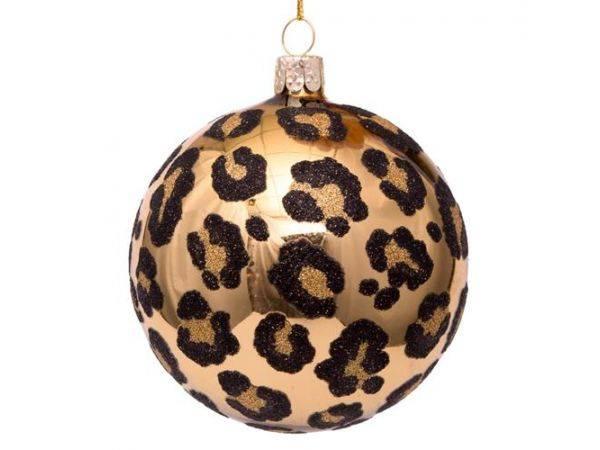 Julekule gull med svart leopardprint