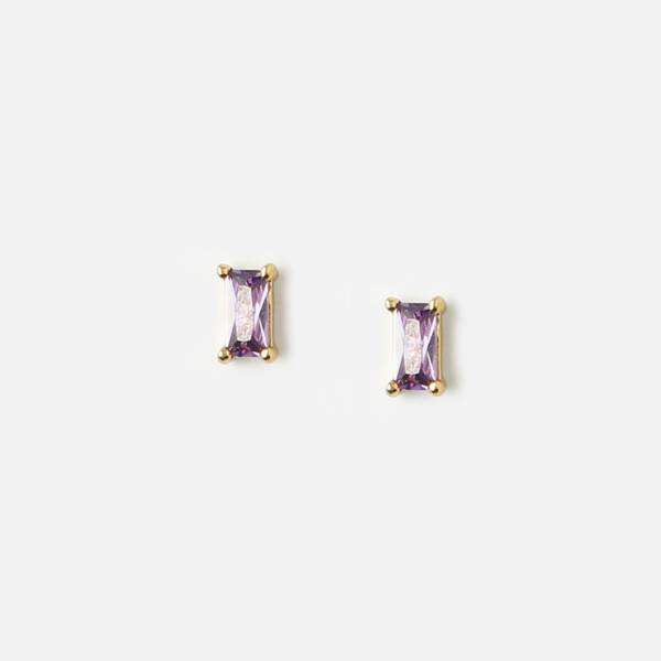 Bilde av Mini baguette lilla studs øredobber