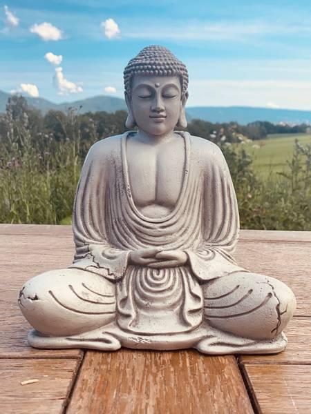 Bilde av Lille grå have-Buddha med