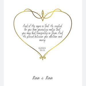 Bilde av Hjerte Gull Plakat