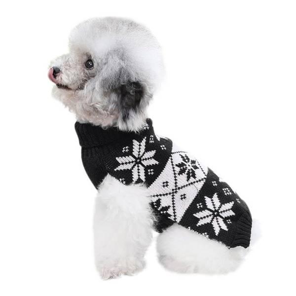 Sort og hvit strikkegenser til hund