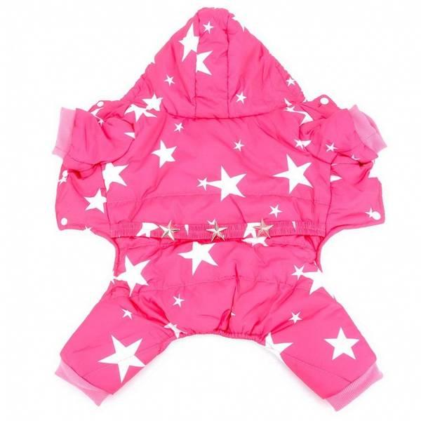 Rosa vinterdress med stjerner til hund