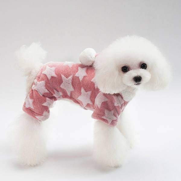 Rosa fleecedress med stjerner til hund