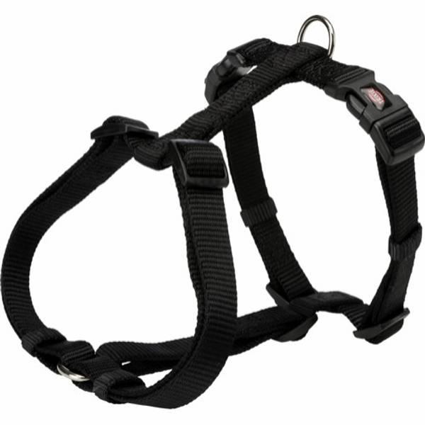 Sort fleksibel H-sele til hund
