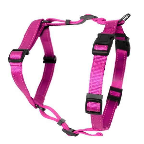 Rosa fleksibel H-sele til hund