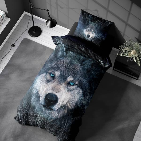 Bilde av Sengesett Wolf Blue