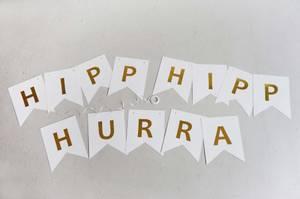 Bilde av Bursdagsbanner, HIPP HIPP HURRA | Hvit/Gull