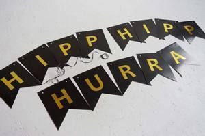 Bilde av Bursdagsbanner, HIPP HIPP HURRA | Sort/Gull