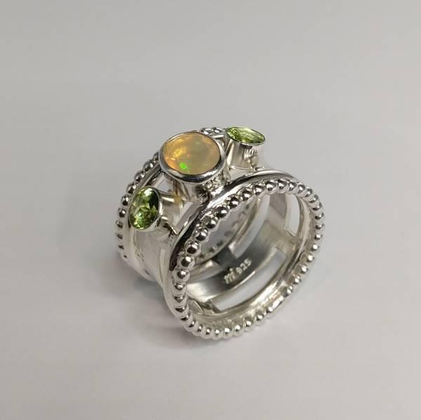 Martens sølvring Opal peridot