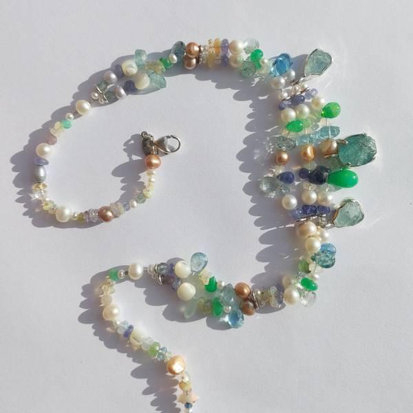 Perle og edelesten kjede Aqua