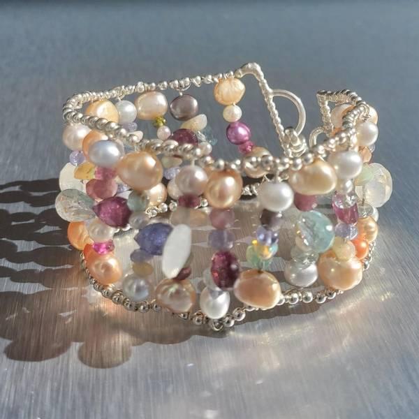 Sølvarmbånd bred med perler og edelstener