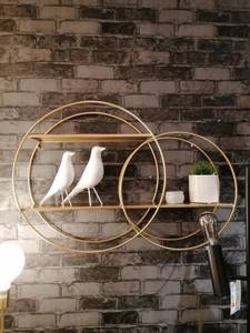Bilde av Vegghylle Double loop gull