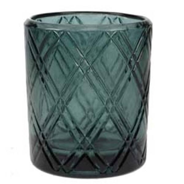 Telysholder i glass m/mønster
