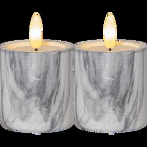 Bilde av Flamme 2pk marble kubbelys