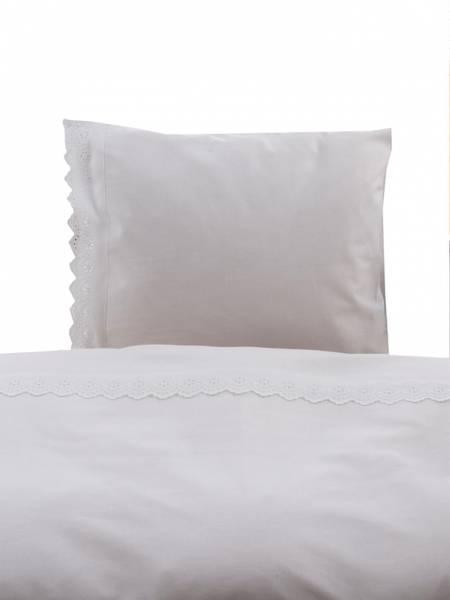 Fryd sengesett hvit med blonde 65x80cm