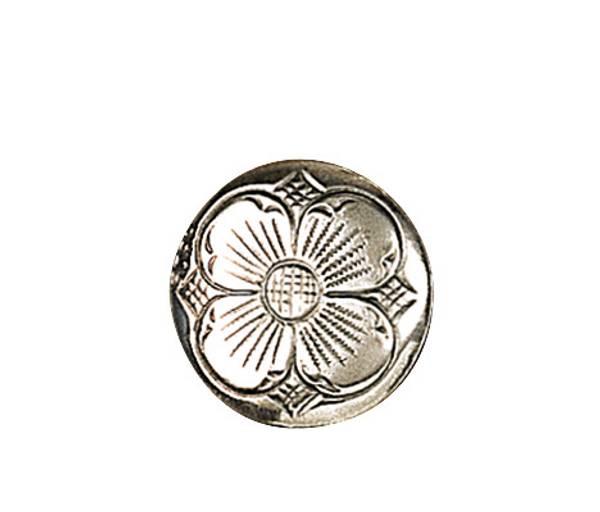 Bunadsølv knapp, 17 mm 4-blad, oksidert artnr: 609100