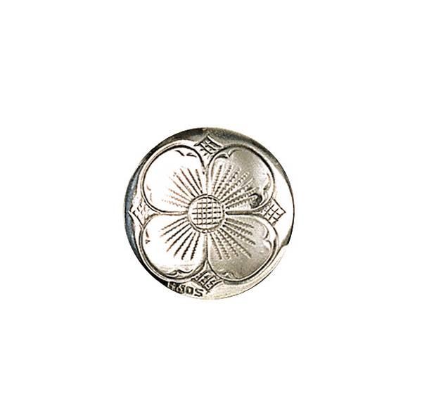 Bunadsølv knapp, 21 mm 4-blad, oksidert artnr: 610100