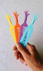4 stk. morsomme bokmerker med hender.
