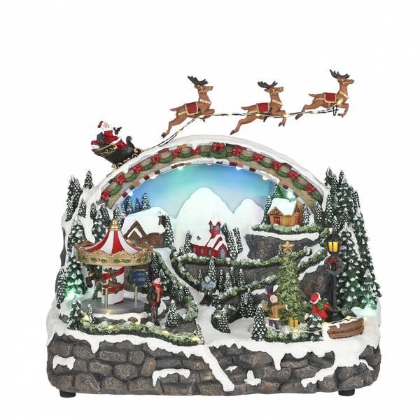 Bilde av Julelandskap med karusell, nisse og slede - juleby Luville