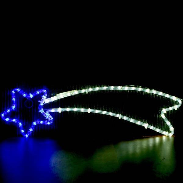 Stjerneskudd 68x21 cm blå og kaldhvit