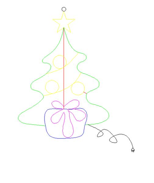 Juletre med julegave 75x53 cm