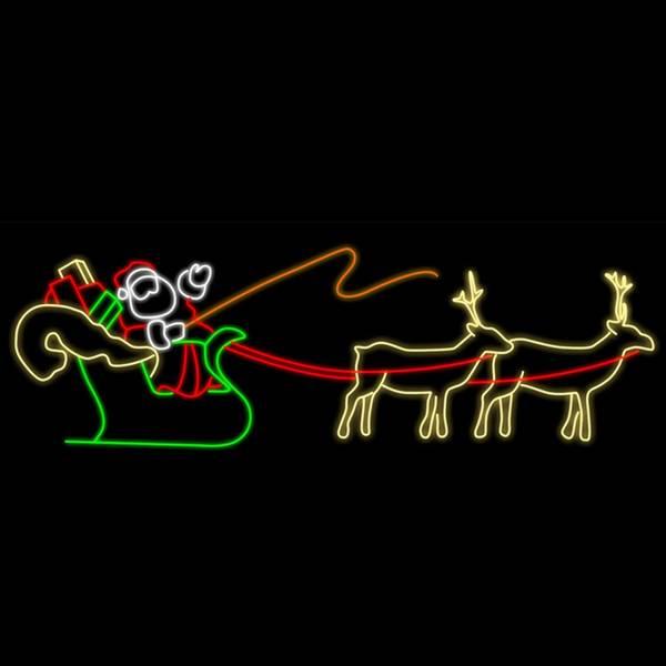 Bilde av XL julenissefigur med reinsdyr og slede 480x150 LED