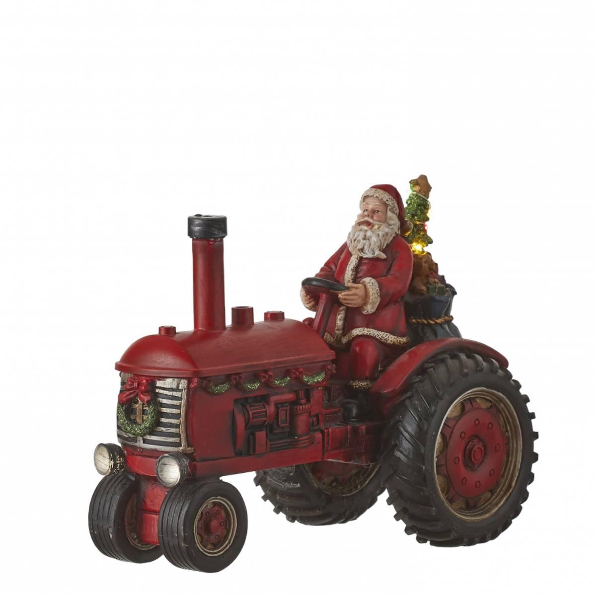Julenisse på rød traktor - juleby Luville