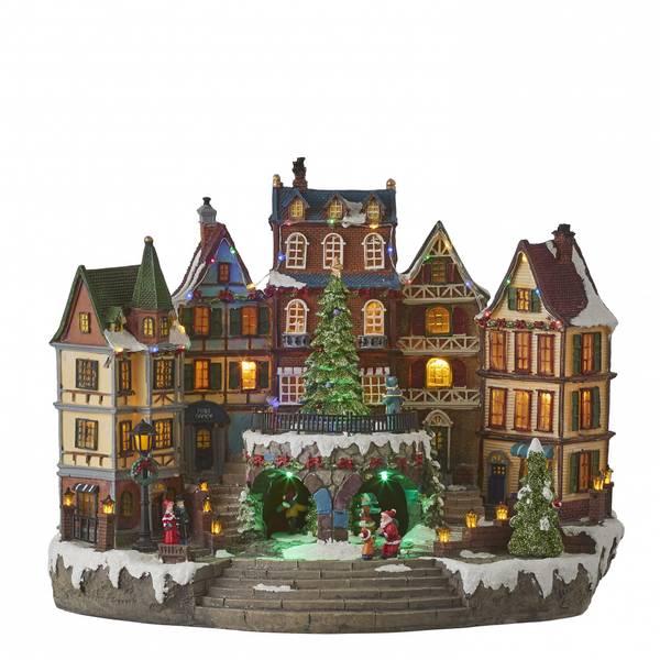 Bilde av Stort bymotiv med juletre - Juleby Luville