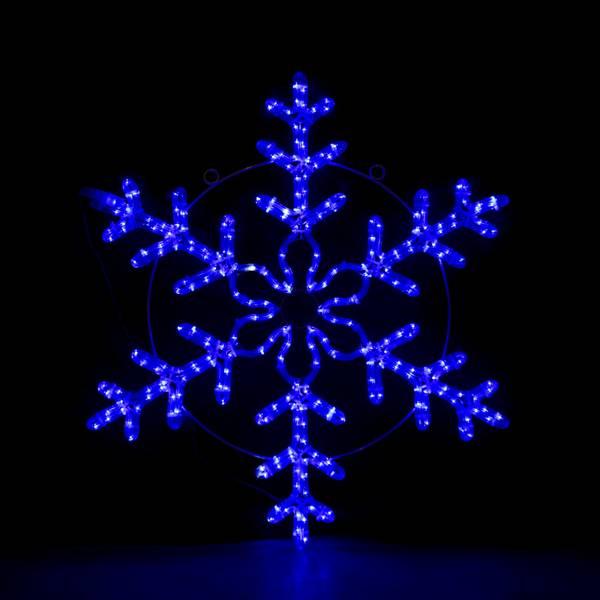 Bilde av Snøfnugg 80x80 cm - 10% auto flash LED - blå