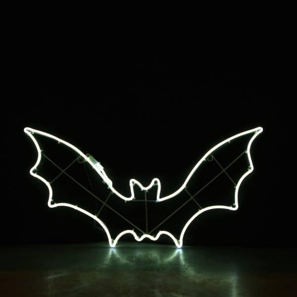 Flaggermus 90x46 cm hvit neon. Halloween