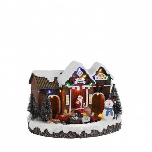 Bilde av Landsbyhus med nisse og tog - juleby luville