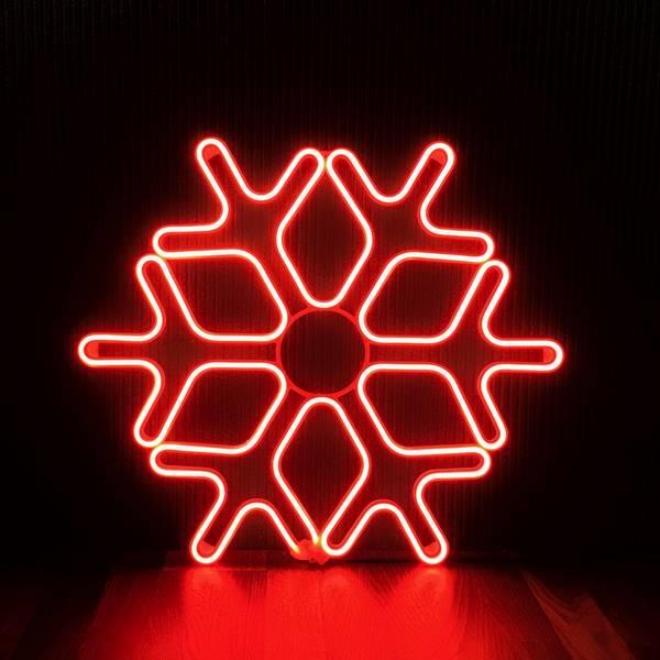 Bilde av Snøfnugg neon 60x60 cm rød
