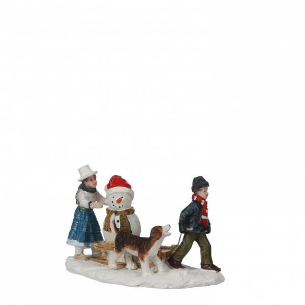 Bilde av Snømann på akebrett - figurer juleby Luville